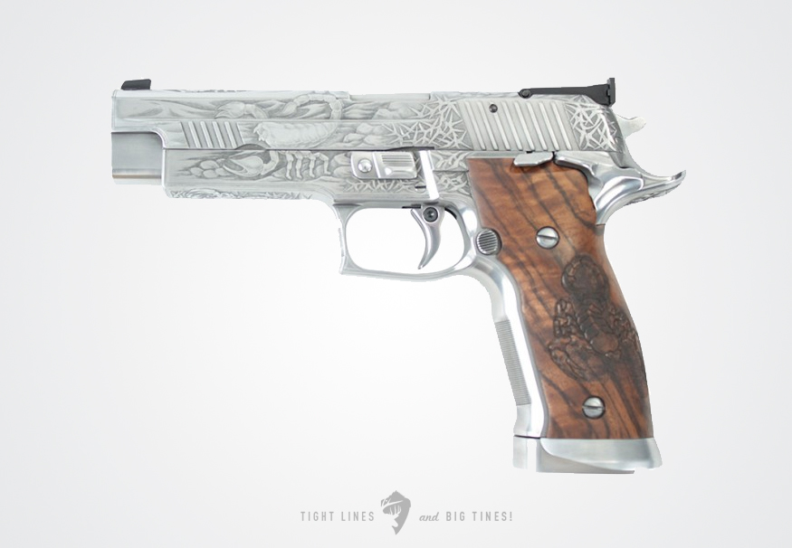 Scorpion pistol engraved by Helmut Schink of IWA SIG Sauer Germany. Via The Firearm Blog.